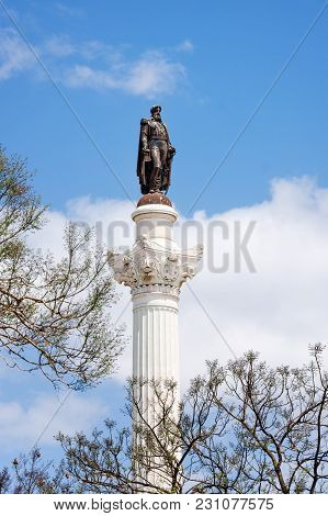 Statue Of Don Pedro Iv On The Don Pedro Square Also Called Rossio In Lisbon In Portugal.