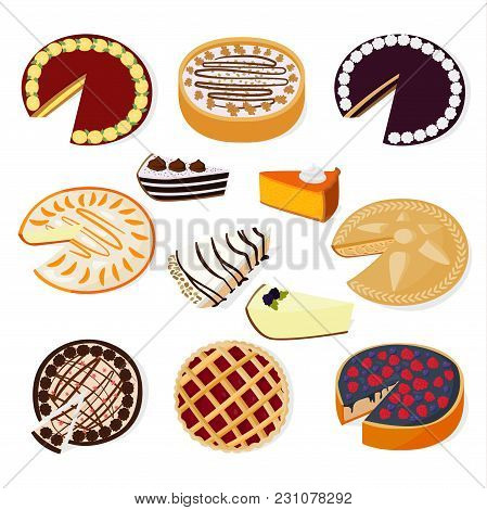 Pie Cakes Vector Fresh Tasty Dessert Sweet Pastry Berry Pie Isolated On White Background Gourmet Hom