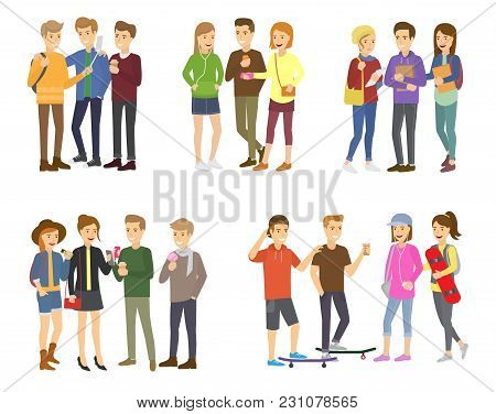 Youth Group Of Teenagers Vector Grouped Teens Characters Of Girls Or Boys Together And Young Student