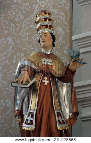 VRHOVAC, CROATIA - JULY 02: Statue of Saint on the main altar in Saints Cosmas and Damian church in Vrhovac, Croatia on July 02, 2016.