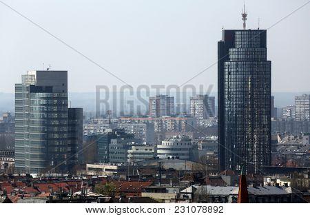 ZAGREB, CROATIA - APRIL 10: Aerial view of Zagreb, southern part panorama in Zagreb, Croatia on April 10, 2015.
