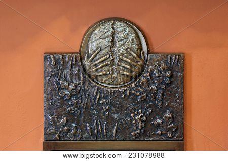 ZAGREB, CROATIA - MARCH 31: The symbols of the Eucharist, relief in Chapel of Saint Dismas in Zagreb, Croatia on March 31, 2015