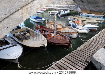 ICICI, CROATIA - MAY 25: Icici village bridge and harbor in Opatija riviera, Kvarner, Croatia, on May 25, 2017.