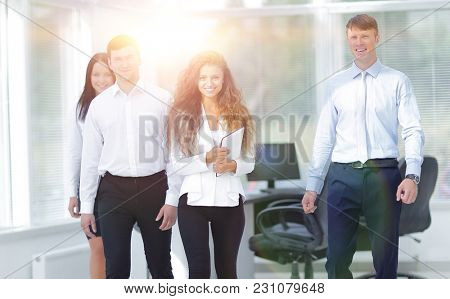 group of young business people in office