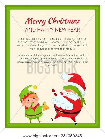 Merry Christmas And Happy New Year Poster With Santa And Elf Vector Banners With Place For Text. Fat