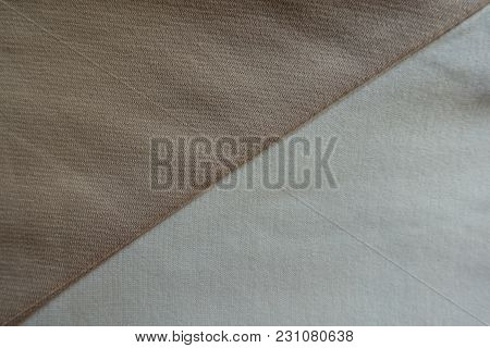 Beige And White Fabrics Sewn Together Diagonally