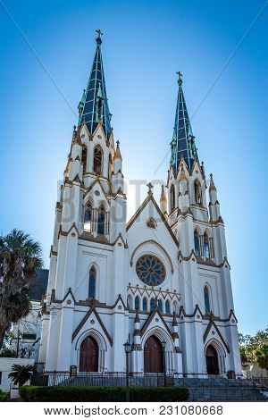 Savannah, Georgia - March 3, 2018: A Front View Of The Historic Cathedral Of St. John The Baptist.