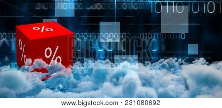 View of cloudscape against blue technology design with binary code