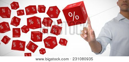Man pretending to touch an invisible screen against white background against vector sign of percentage