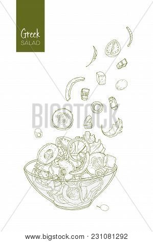 Contour Drawing Of Greek Salad And Its Ingredients. Tomato, Cucumber, Olive, Feta Cheese, Onion, Bel
