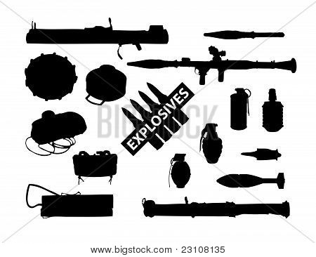 weapon collection, explosives