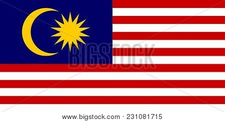 Flag In Colors Of Malaysia, Vector Image