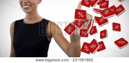 Happy businesswoman looking away while touching invisible interface against percent sign vector icon