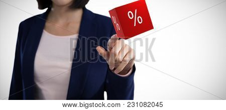 Mid section of businesswoman touching invisible screen against vector icon of percentage symbol