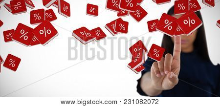 Female executive pressing an invisible virtual screen against percent sign vector icon