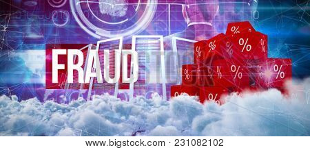 Digitally generated image of dark storm clouds against fraud against pink technology hand interface design