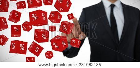 Mid section of businessman with pointing gesture against vector sign of percentage