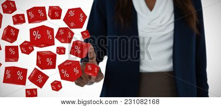 Mid section of businesswoman gesturing against vector sign of percentage