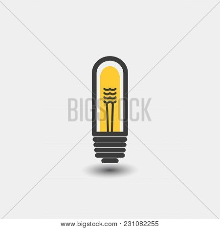 Light Bulb Icon, Isolated On White Background. A Sign Of Ideas, A Concept Of Thinking In A Flat Styl