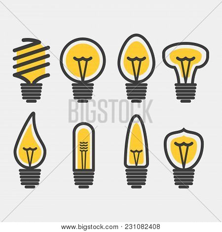 Set Of Led And Energy Saving Lamps. Vector Illustration. Flat Design