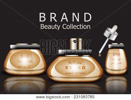 Golden Cosmetics Realistic Vector Packaging. Face Cream, Serum And Perfume Products Mock Up Collecti