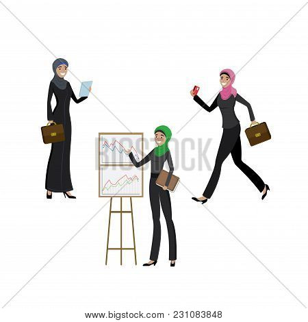 Arab Business Women In Different Activities- Running, Presenting, Standing, Cartoon Vector Illustrat