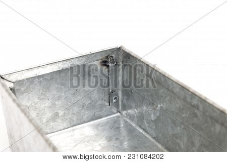 Box Made From Bending Metal Sheet With Spot Welding Isolated On White Background