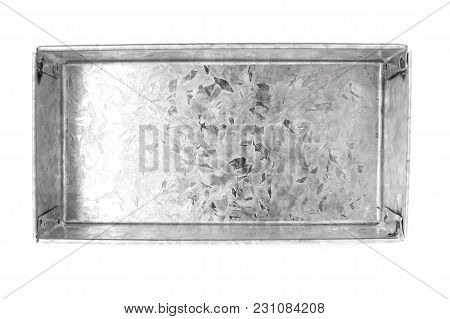 Top View Of Box Made From Bending Metal Sheet Isolated On White Background