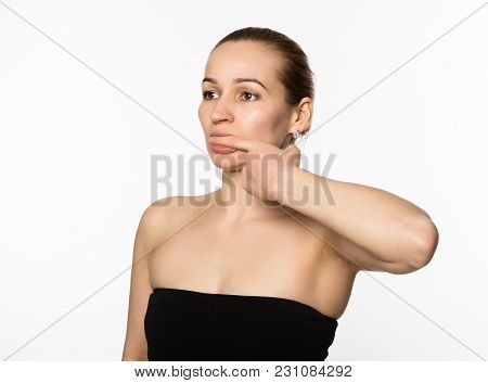 Gymnastics For A Face, Woman Doing Anti-aging Exercises.