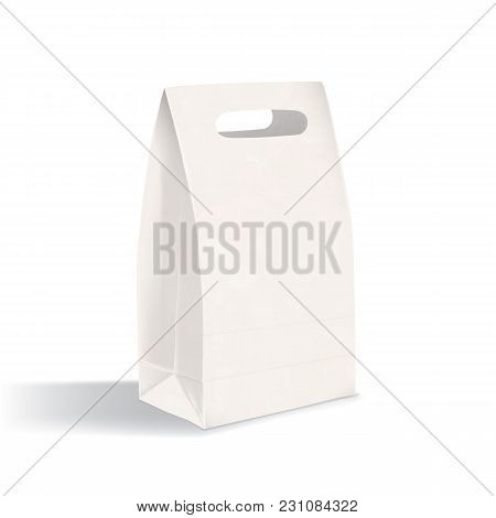 Realistic Blank Flat Bottom Gusset Bag With Die-cut Handles. Clean Paper Packaging Isolated On White