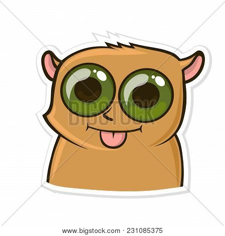 Sticker For Messenger With Funny Animal. Hamster Shows Tongue. Vector Illustration, Isolated On Whit