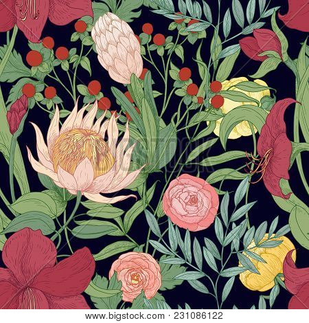 Floral Seamless Pattern With Beautiful Wild Blooming Flowers And Herbs Hand Drawn On Black Backgroun