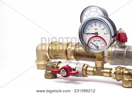 Brass Piping With Measuring Devices Arrow Type