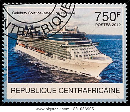 Moscow, Russia - March 14, 2018: A Stamp Printed In Central African Republic Shows Large Passenger S