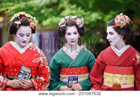 Kyoto, Japan - June 10: Unidentified Tourist Women Dress Like A Maiko, Tourists Usually Makeup As Ge