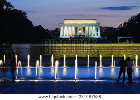 Washington DC at night - World War II Memorial and Lincoln Memorial