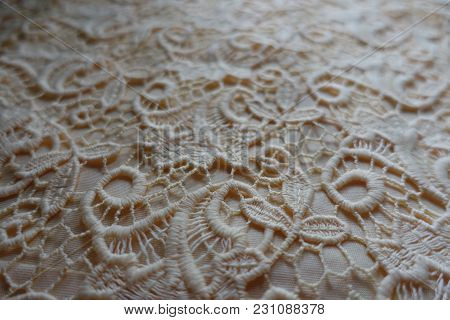 Close Up Of Delicate Ivory Lacy Fabric