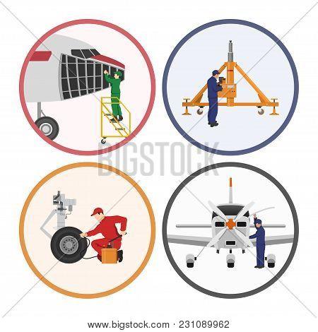 Repair And Maintenance Of Aircraft. Engineers Repairing Airplane. Industrial Drawing. Plane Hangar.