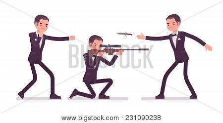 Secret Agent Man, Gentleman Spy Of Intelligence Service, Watcher Uncovers Data, Collect Political, B