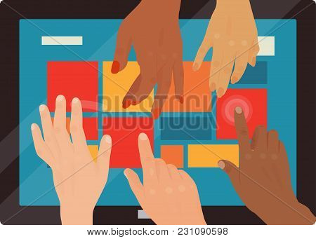Users Hands Touch Gestures Technology Internet Work Swipe Typing Tool Vector Illustration. Electroni