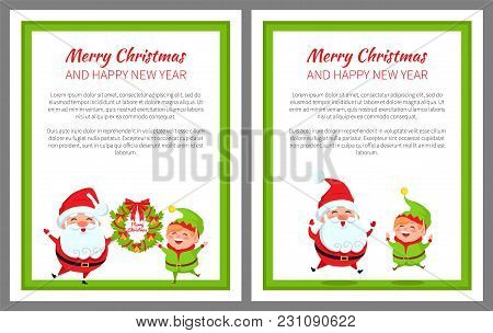 Merry Christmas And Happy New Year, Poster With Text Sample And Headlines, Images Of Santa Claus And