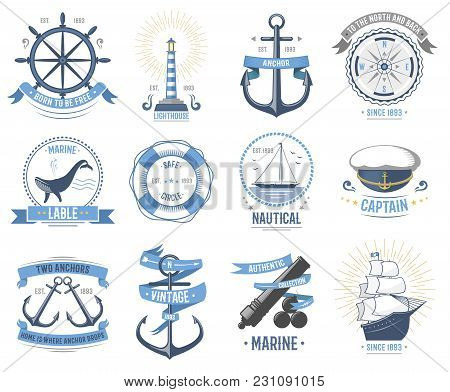 Sea Nautical Vector Badge Set Sailing Hat, Boats, Fish Themed Label Icon With Ship Sign Anchor Rope