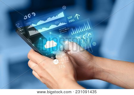 Hand using phone with cloud technology and linked information concept