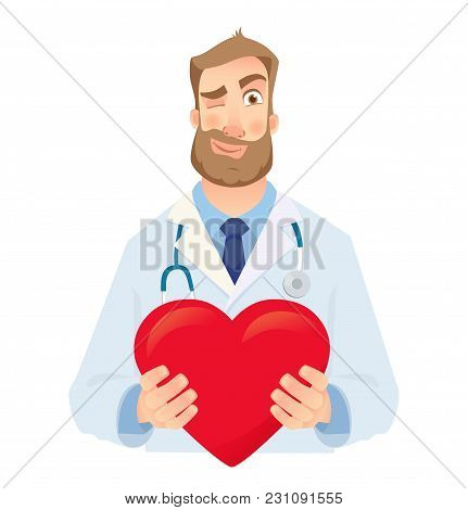 Doctor Holding Red Heart. Cardiology Concept Illustration