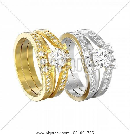 3d Illustration Isolated Two Yellow And White Gold Or Silver  Two Shanks Decorative Diamond Rings On