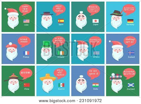 Santa Clauses From Different Countries In National Headdresses Wishes Happy New Year In Foreign Lang