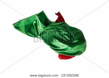 Smooth Elegant Transparent Red, Green Cloth Isolated Or Separated On White Studio Background. Textur