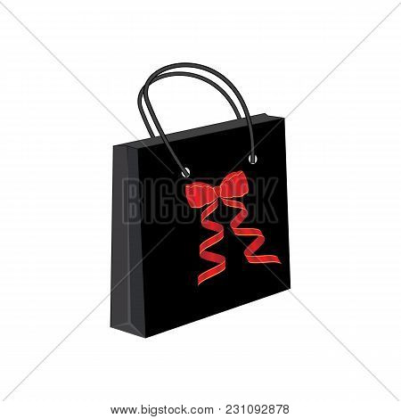 Gift Paper Bag Black Bright Red Bow Isolated On White Background Advertising Banner Vector