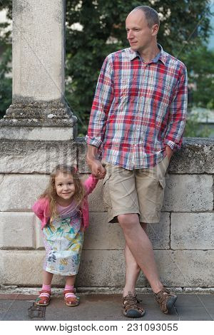 Dad With Cute Daughter Individually Full Length Street Down Town Portrait