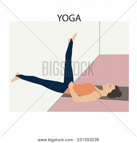 Yoga Woman Doing Stretching Exercises On At The Wall The Position Number 5 Light Vector Background